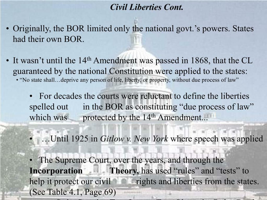 Civil Liberties Cont.
