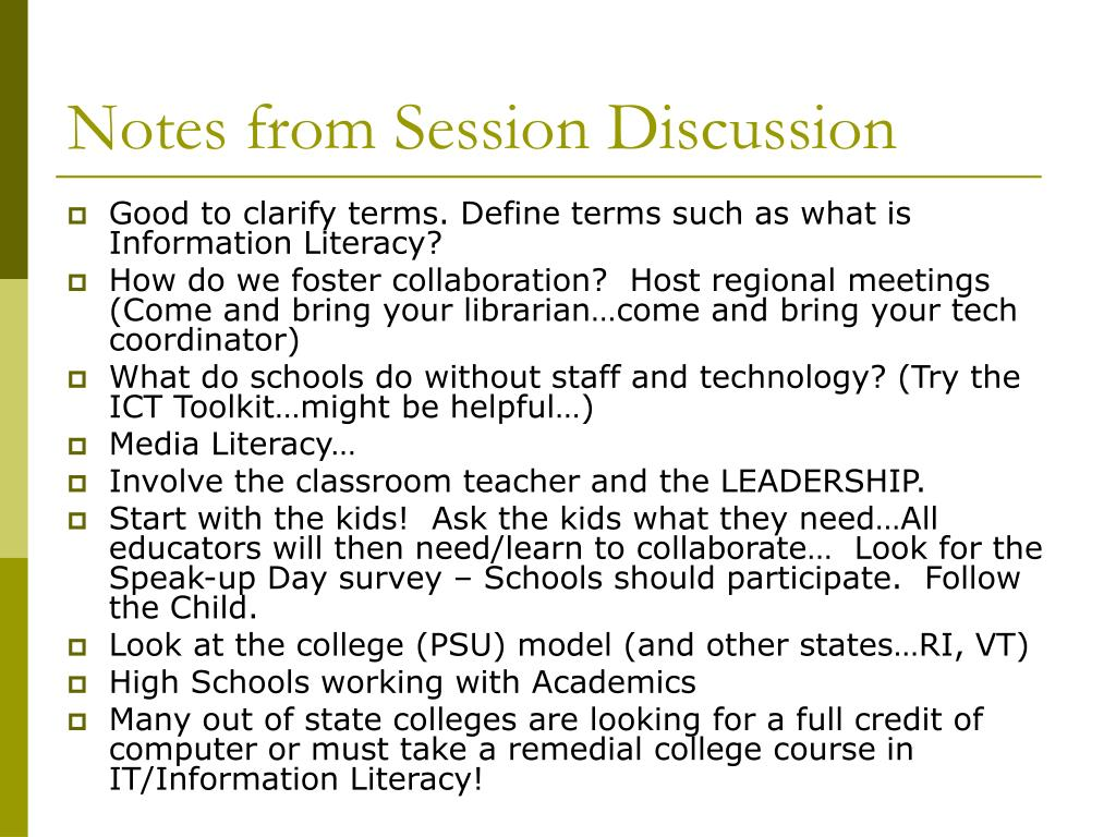 Notes from Session Discussion