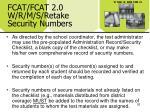 fcat fcat 2 0 w r m s retake security numbers26