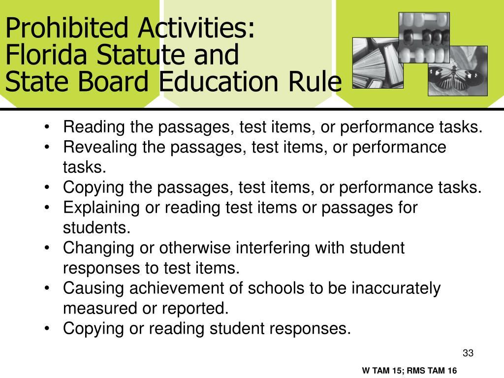 Prohibited Activities: