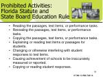 prohibited activities florida statute and state board education rule