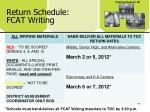 return schedule fcat writing
