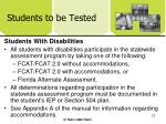 students to be tested12