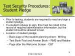 test security procedures student pledge