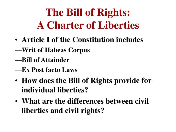 The bill of rights a charter of liberties
