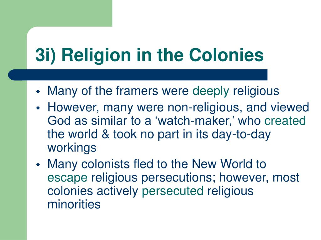 3i) Religion in the Colonies