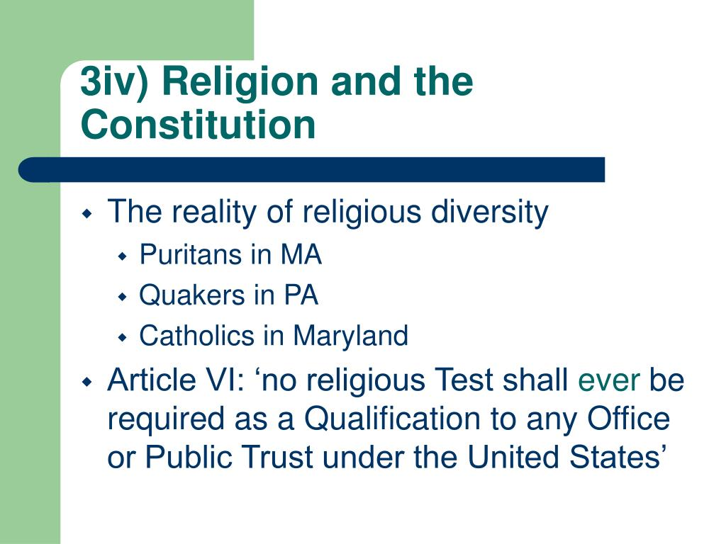 3iv) Religion and the Constitution