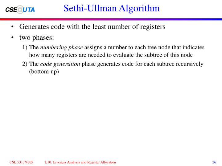Sethi-Ullman Algorithm