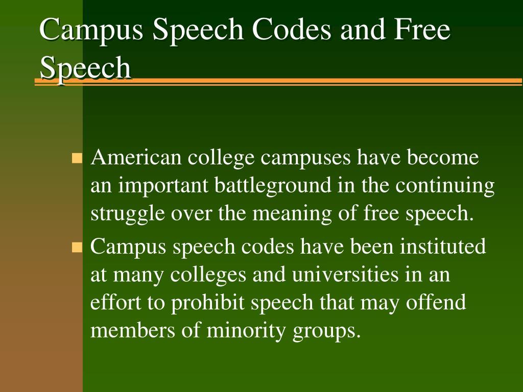 Campus Speech Codes and Free Speech