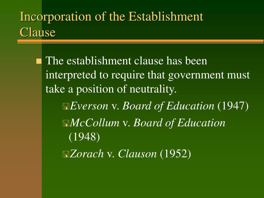 Incorporation of the Establishment Clause