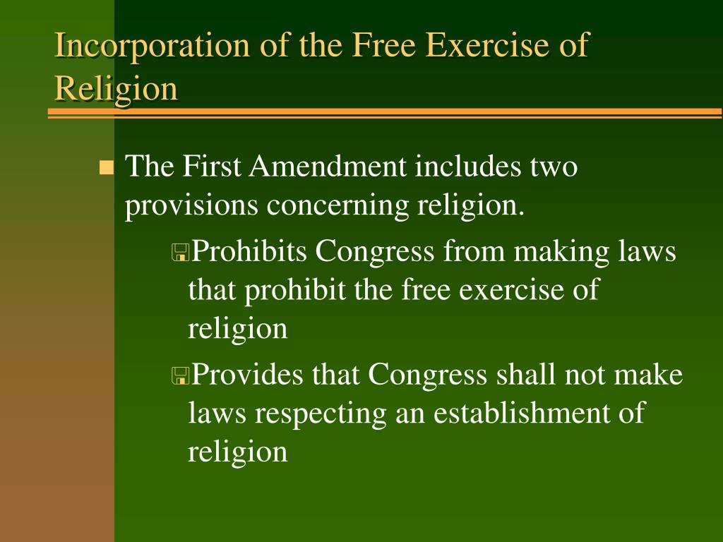 Incorporation of the Free Exercise of Religion