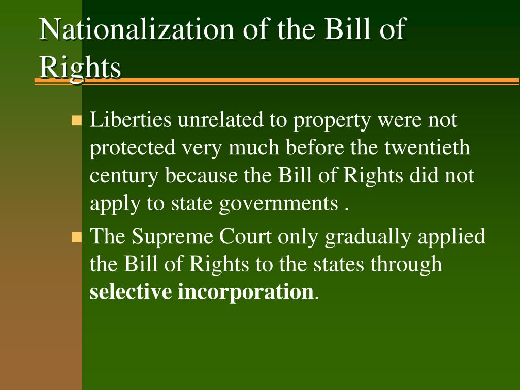 Nationalization of the Bill of Rights