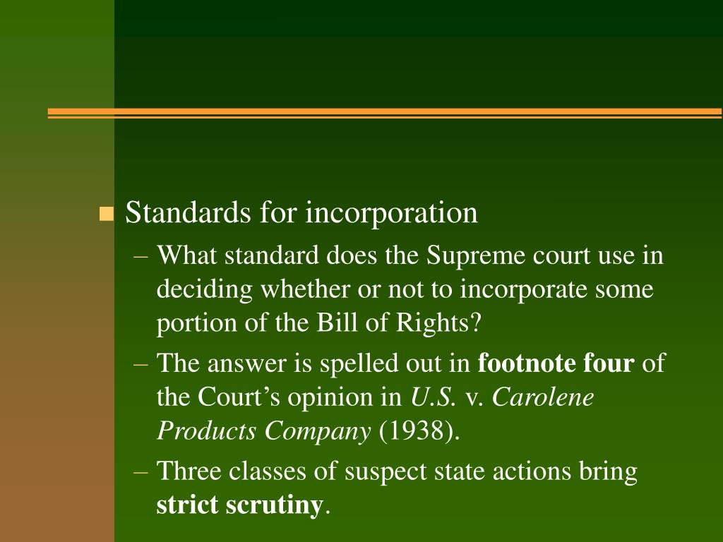 Standards for incorporation