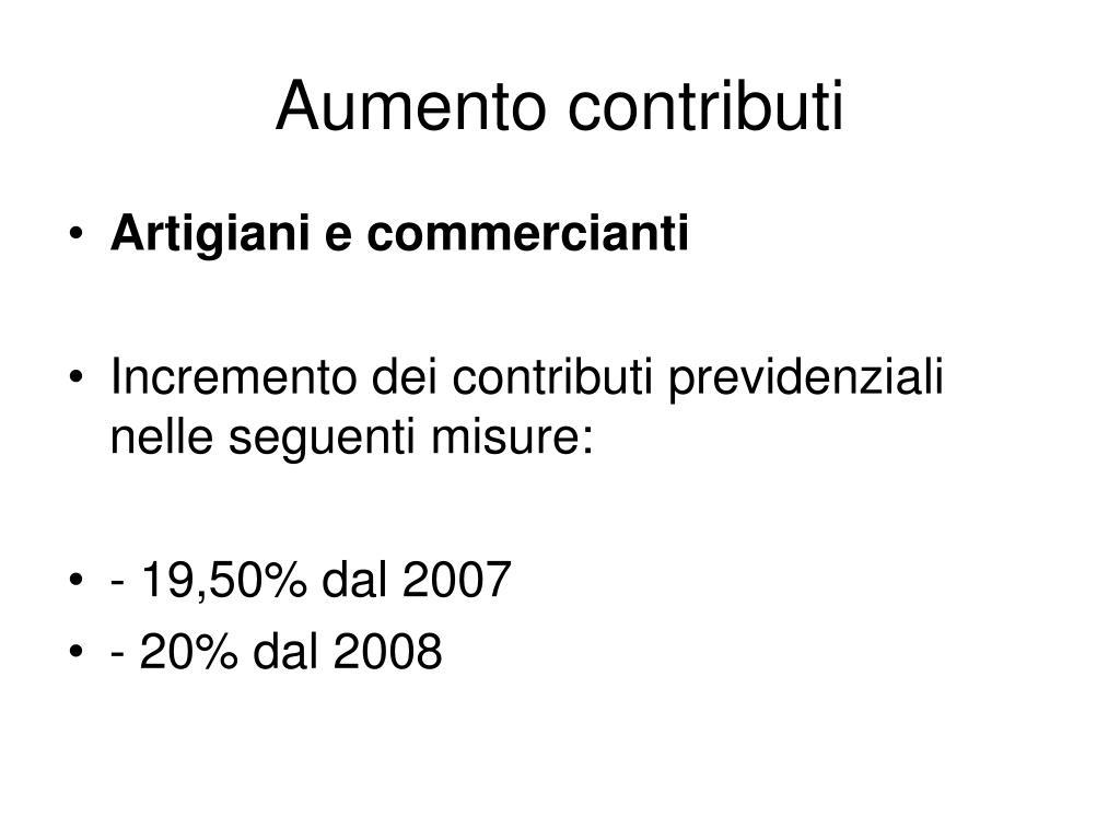 Aumento contributi