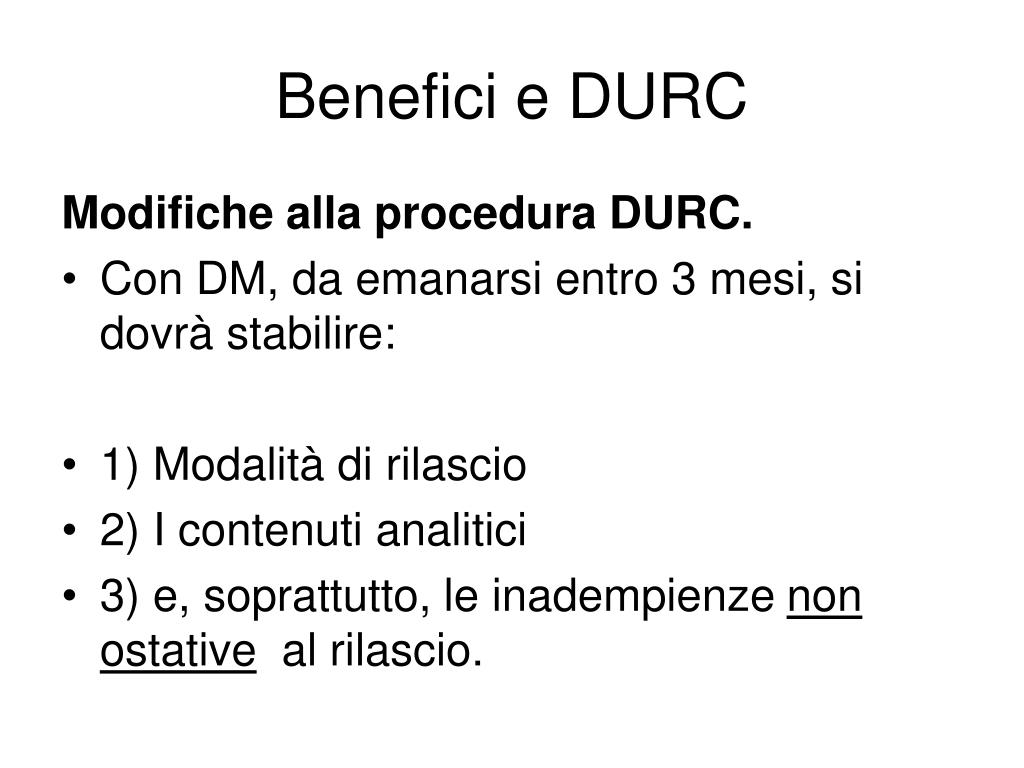 Benefici e DURC