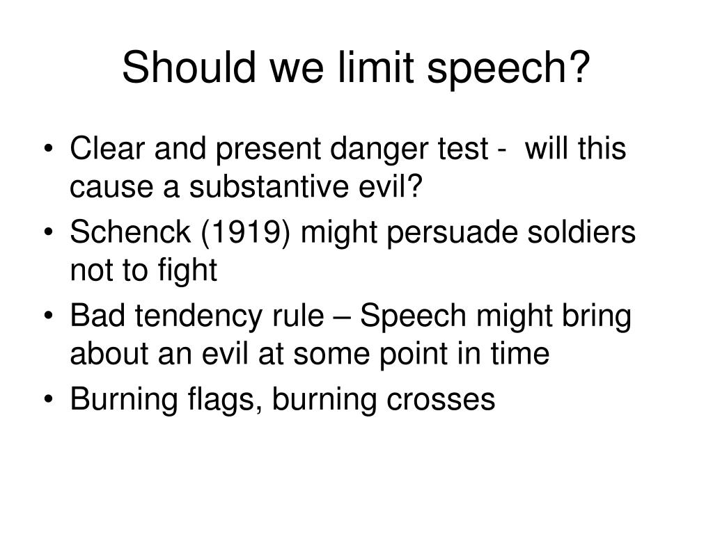 Should we limit speech?