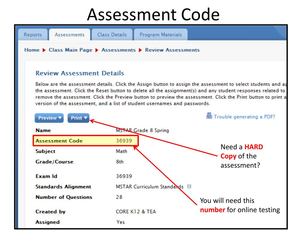 Assessment Code