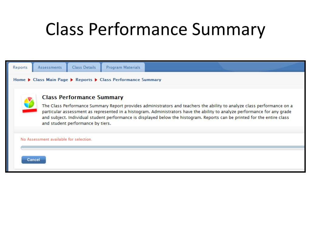 Class Performance Summary