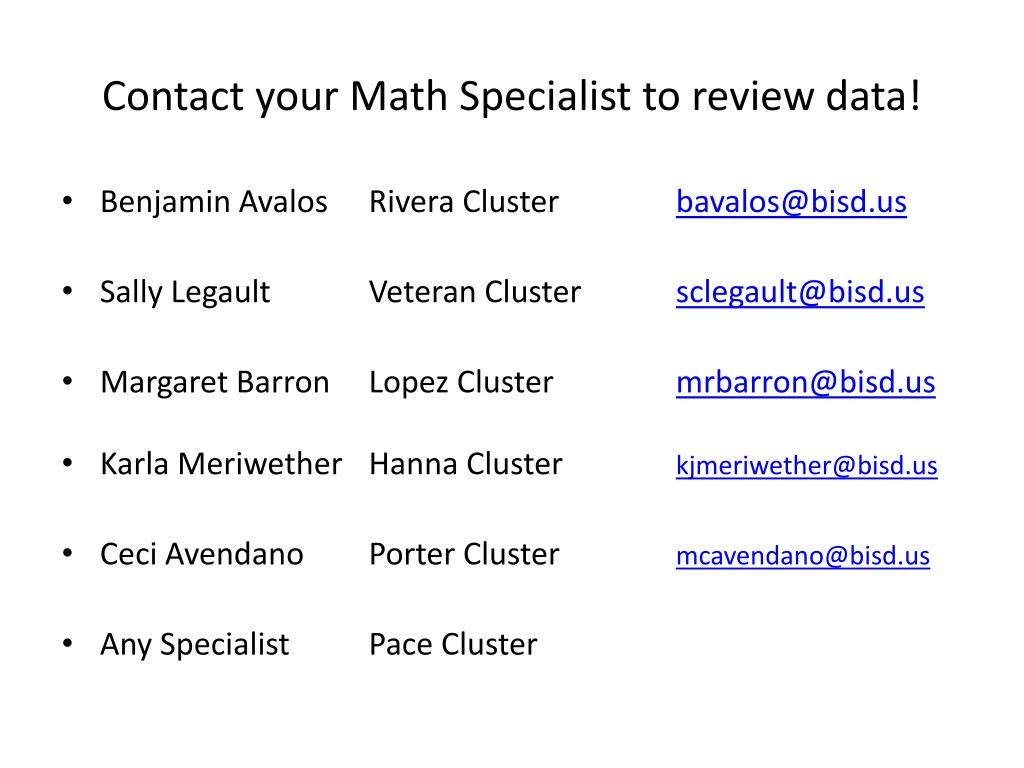 Contact your Math Specialist to review data!