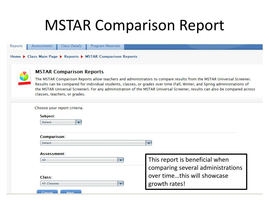 MSTAR Comparison Report