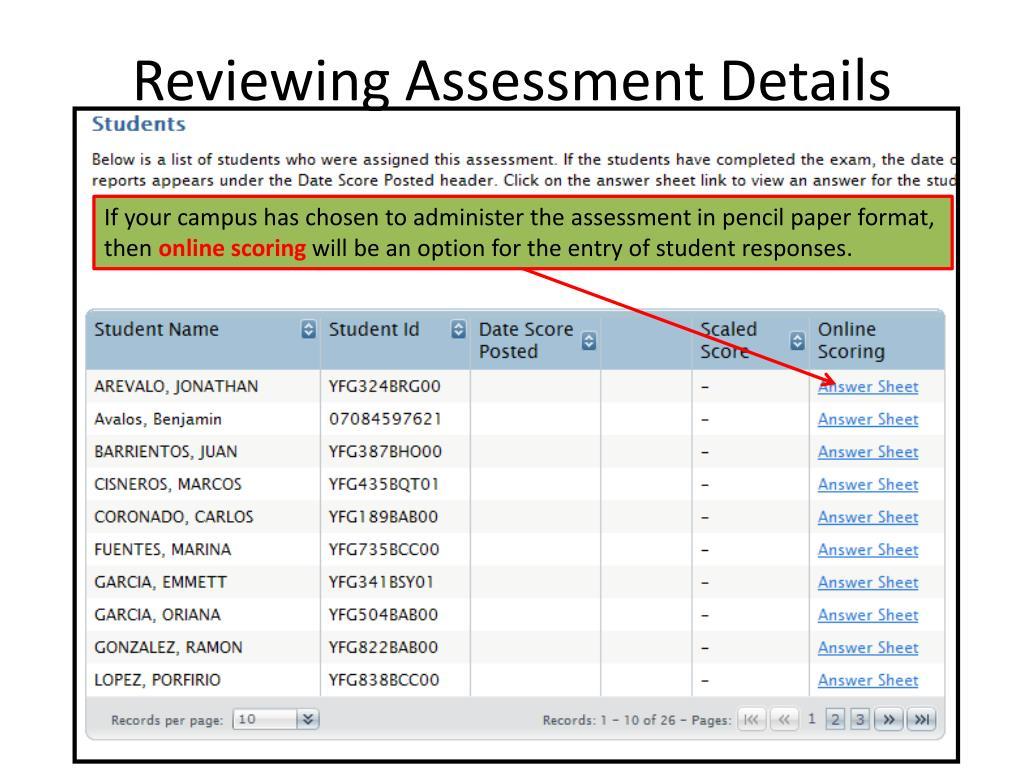 Reviewing Assessment Details