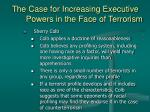 the case for increasing executive powers in the face of terrorism21