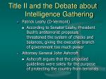 title ii and the debate about intelligence gathering16
