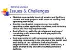 planning division issues challenges