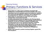 planning division primary functions services