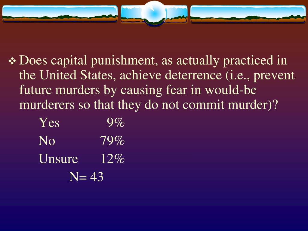 Does capital punishment, as actually practiced in the United States, achieve deterrence (i.e., prevent future murders by causing fear in would-be murderers so that they do not commit murder)?