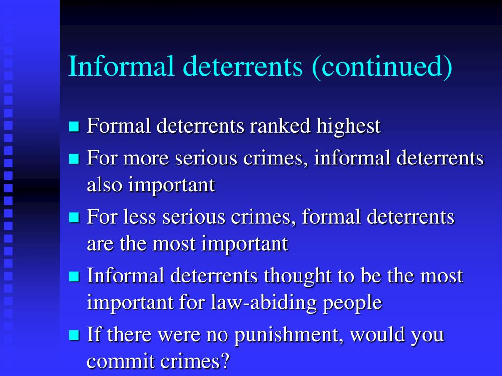 Informal deterrents (continued)