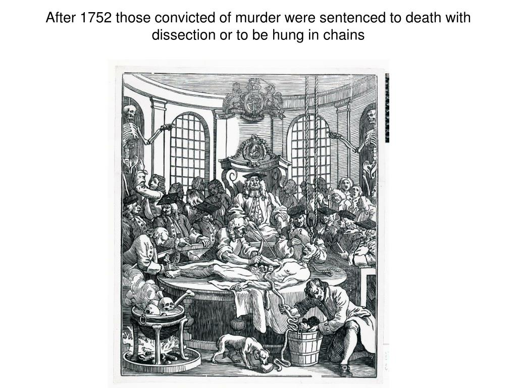 After 1752 those convicted of murder were sentenced to death with dissection or to be hung in chains