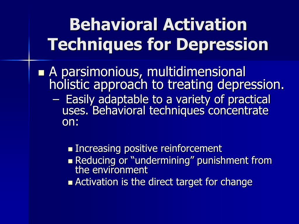 Behavioral Activation Techniques for Depression