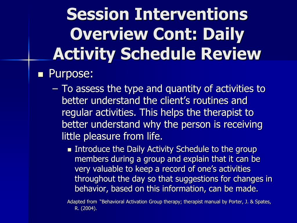Session Interventions Overview Cont: Daily Activity Schedule Review