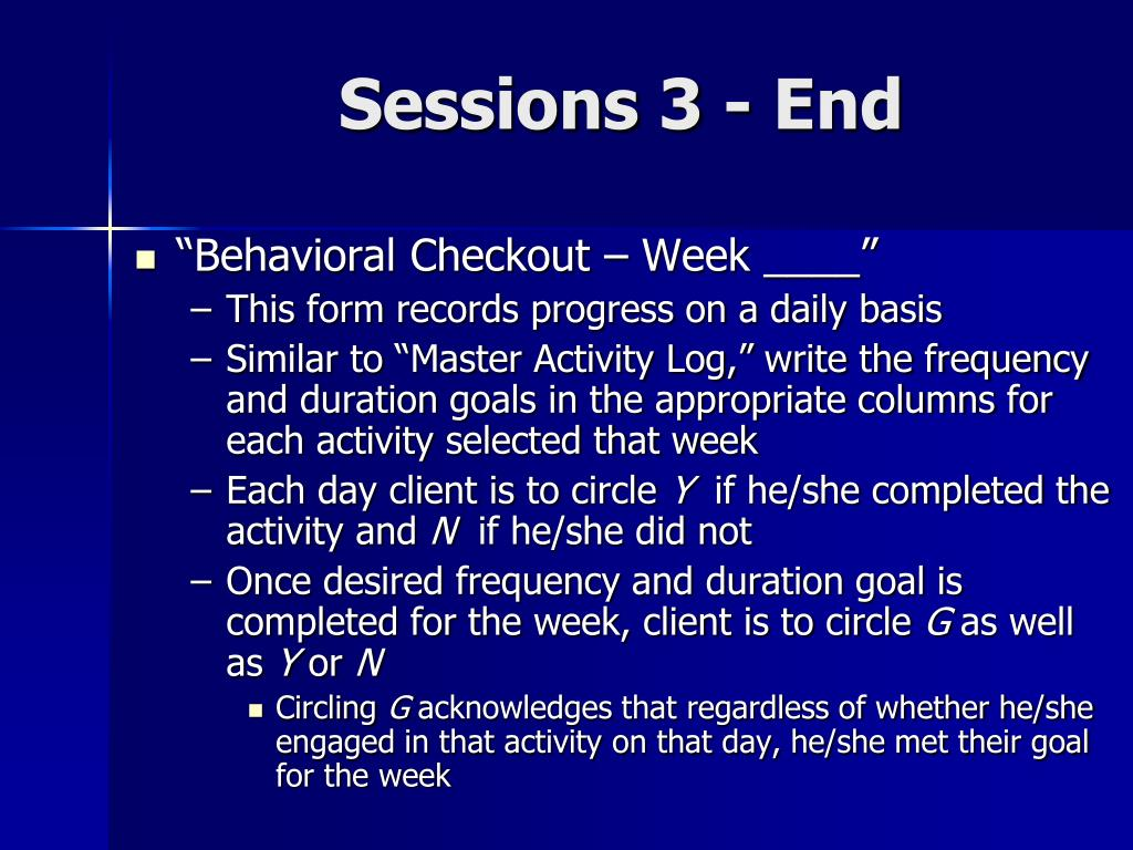 Sessions 3 - End