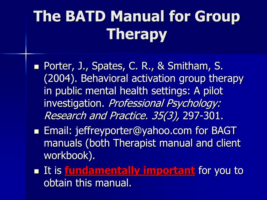 The BATD Manual for Group Therapy
