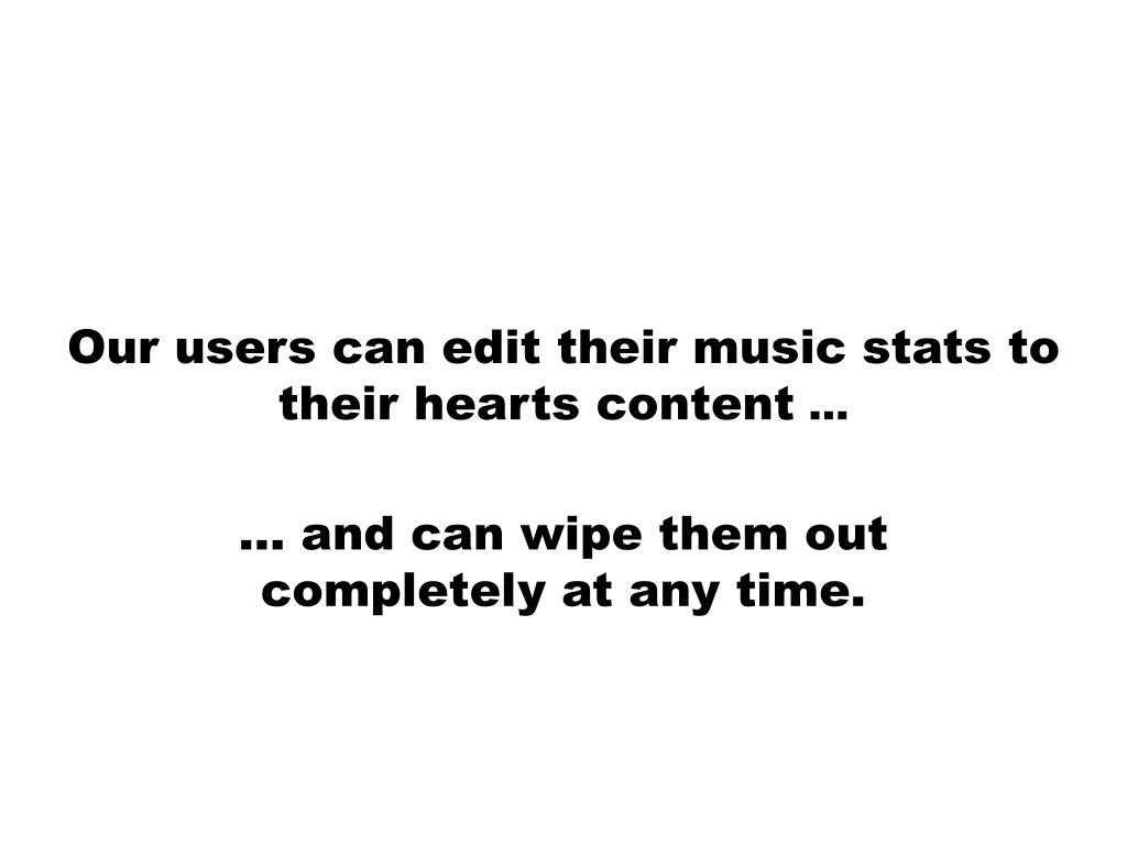 Our users can edit their music stats to their hearts content