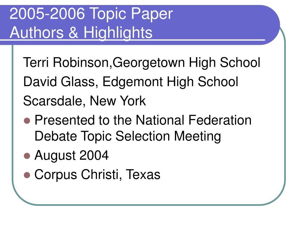 2005-2006 Topic Paper