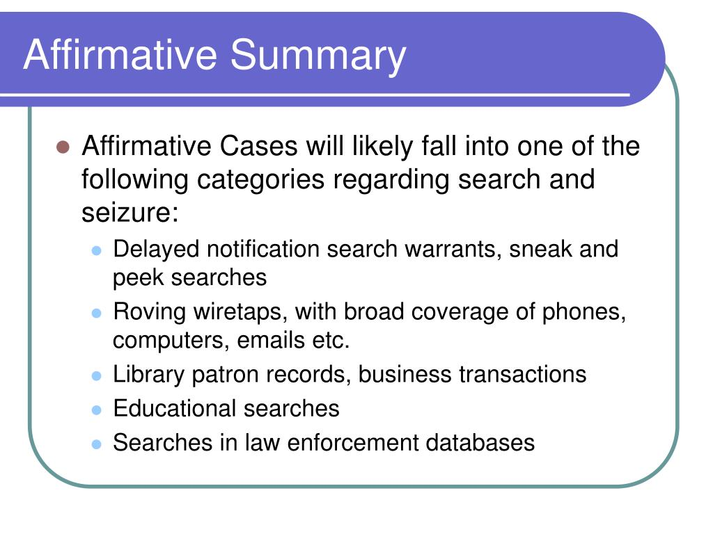 Affirmative Summary