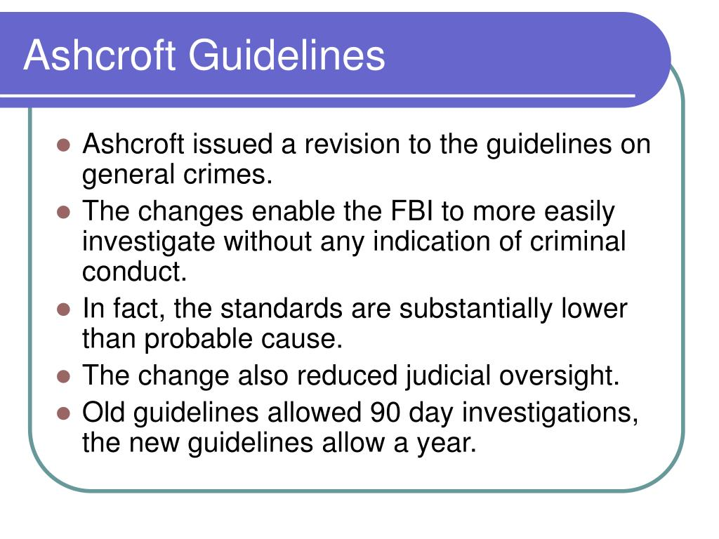 Ashcroft Guidelines