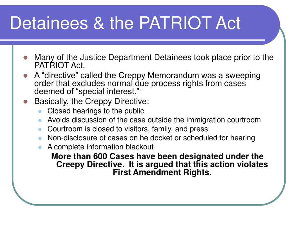 Detainees & the PATRIOT Act