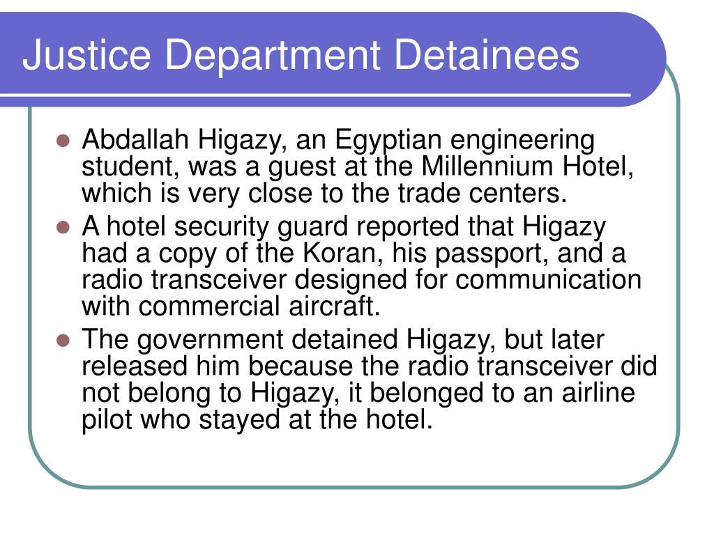 Justice Department Detainees