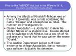 prior to the patriot act but in the wake of 9 11 the justice department challenges