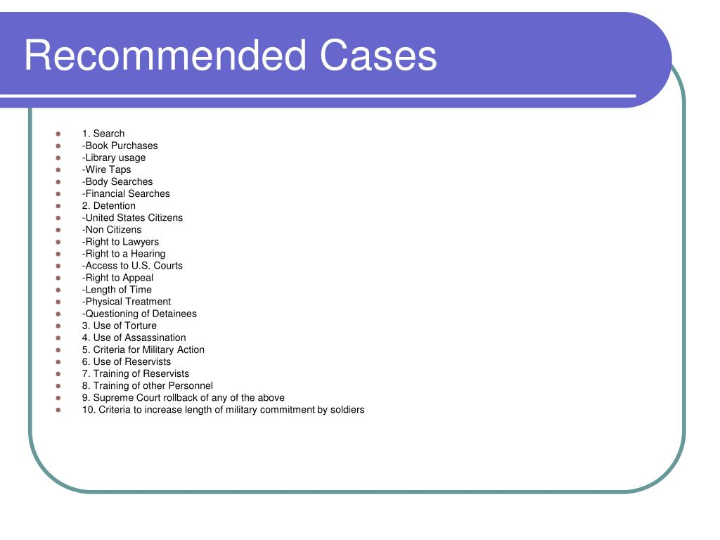 Recommended Cases