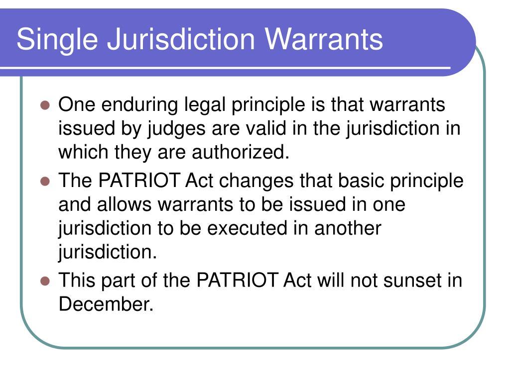 Single Jurisdiction Warrants