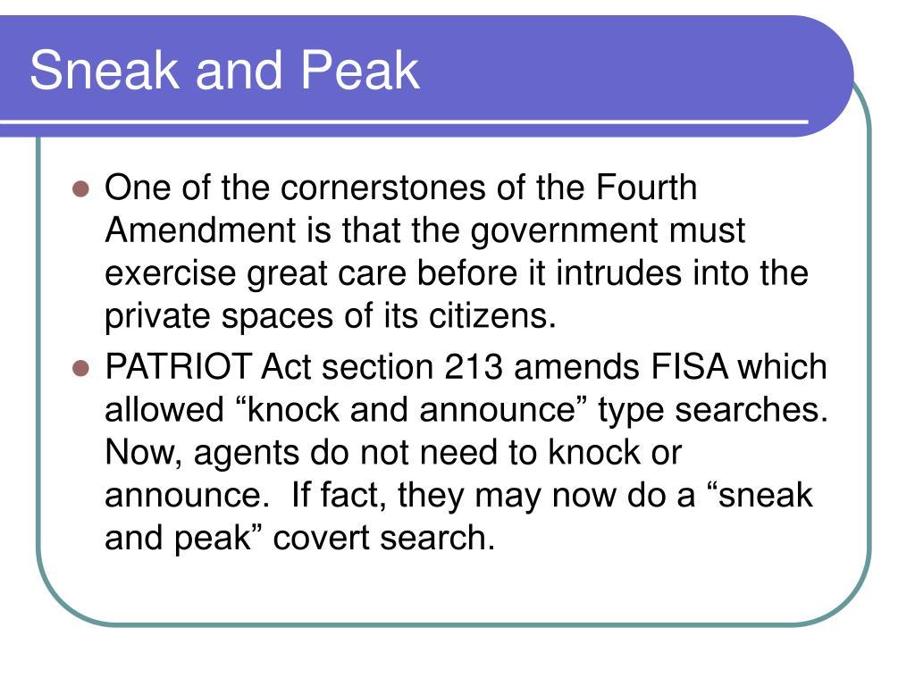 Sneak and Peak