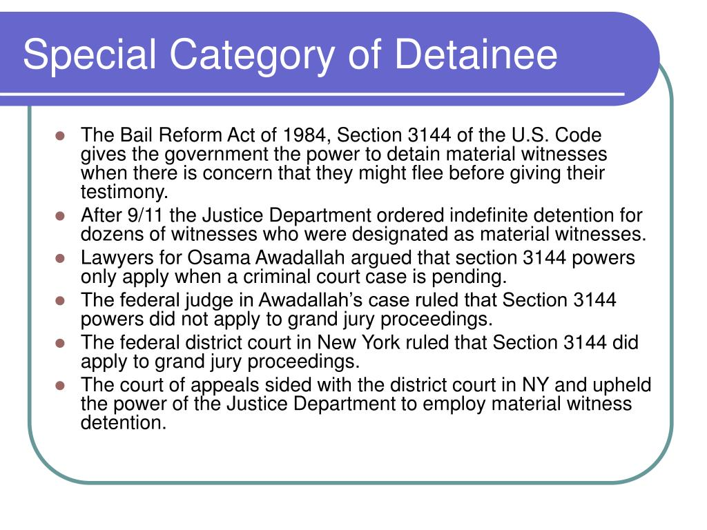 Special Category of Detainee