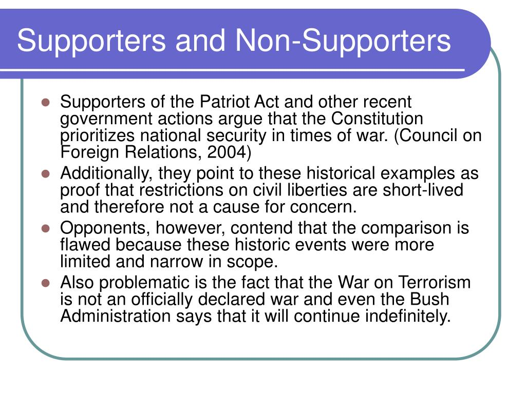 Supporters and Non-Supporters