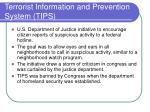 terrorist information and prevention system tips