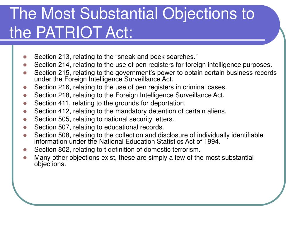 The Most Substantial Objections to the PATRIOT Act: